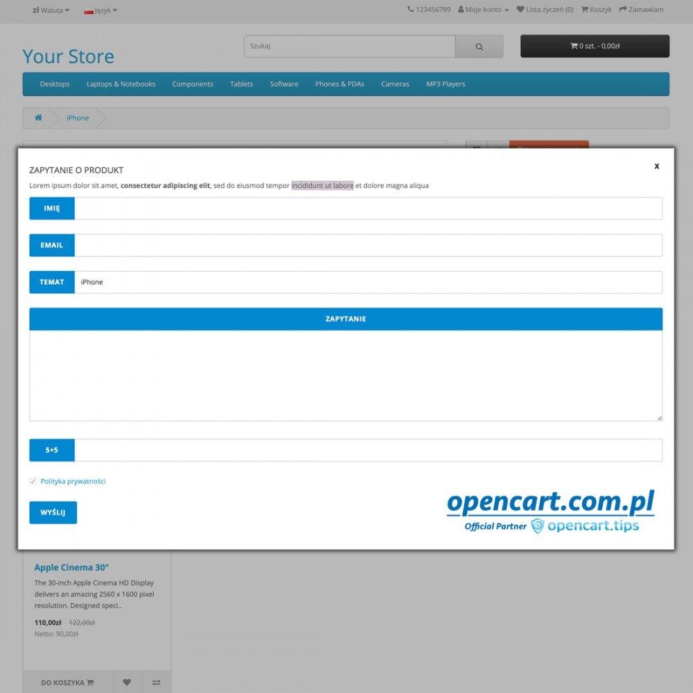 Zapytaj o produkt OpenCart
