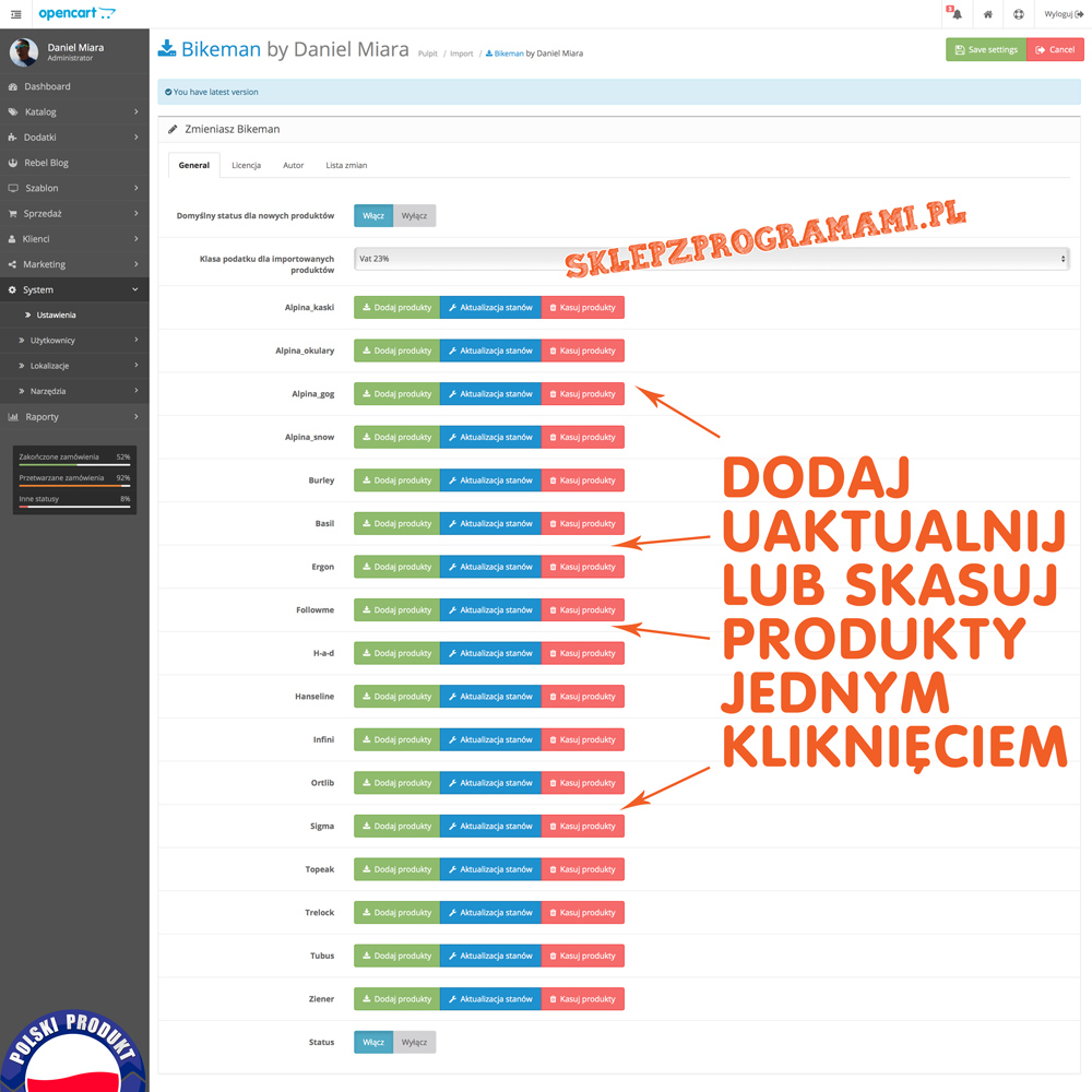 Integracja z Bikeman.pl Opencart 2