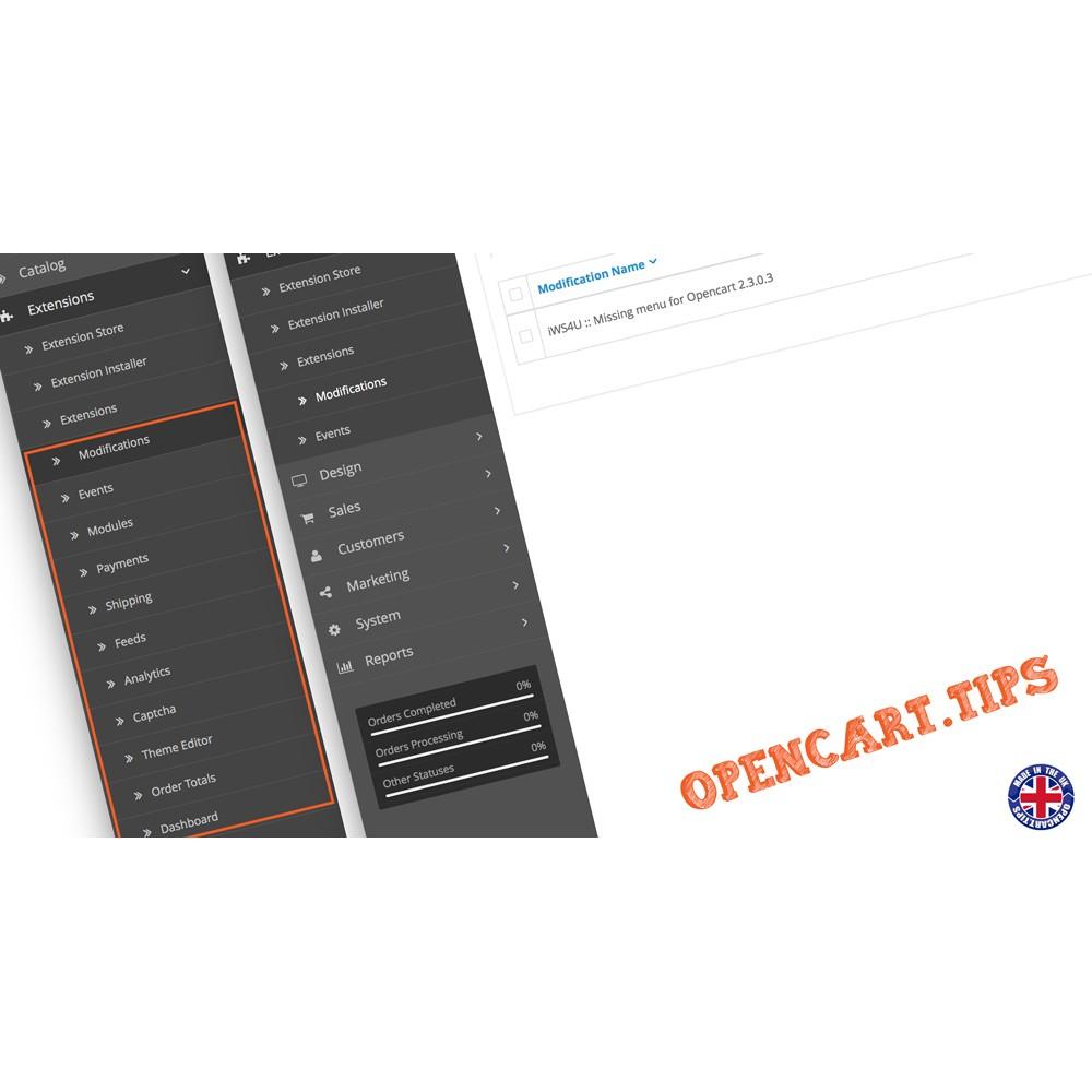 Brakujące menu w OpenCart 2