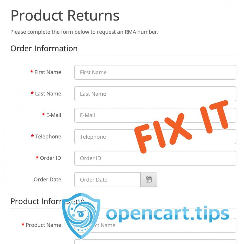 Powiadomienie o zwrocie produktu OpenCart