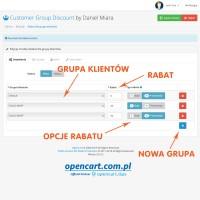 Grupy klientów - przydzielanie rabatu OpenCart