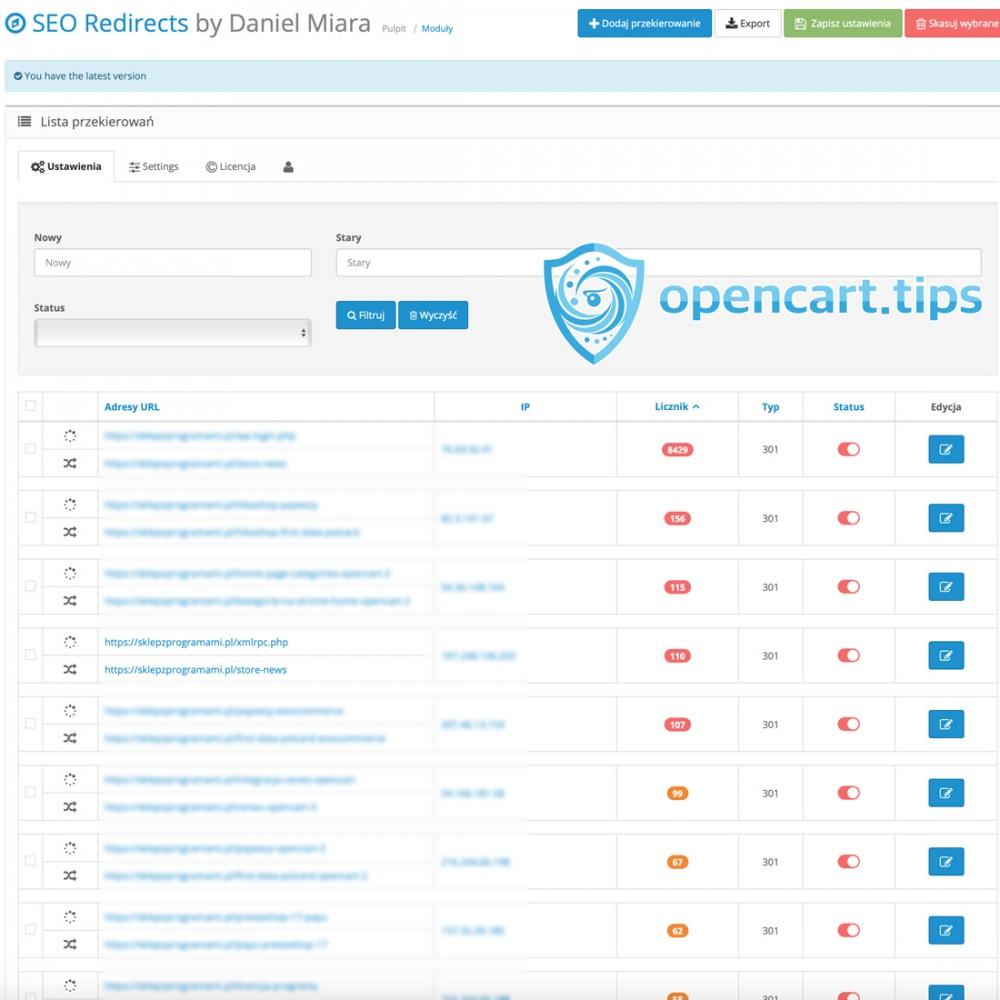 SEO Przekierowanie adresów URL OpenCart 3