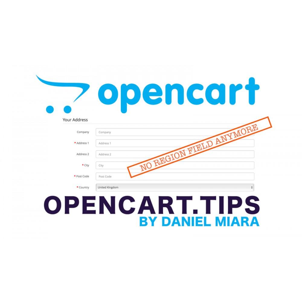 Usunięcie pola region / województwo Opencart 3