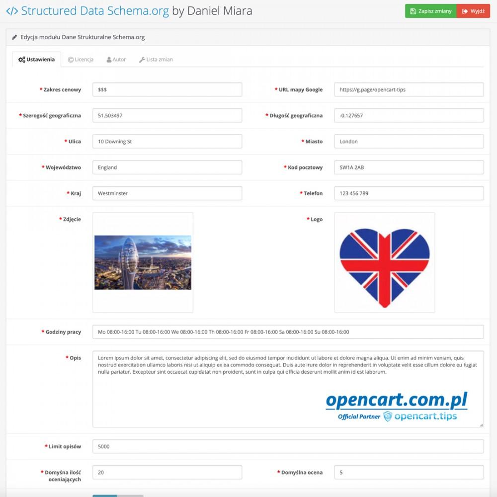 Dane strukturalne Schema.org OpenCart