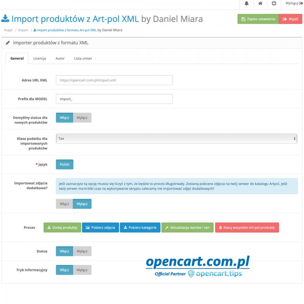 Art-pol XML import OpenCart