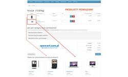 Produkty powiązane w koszyku OpenCart